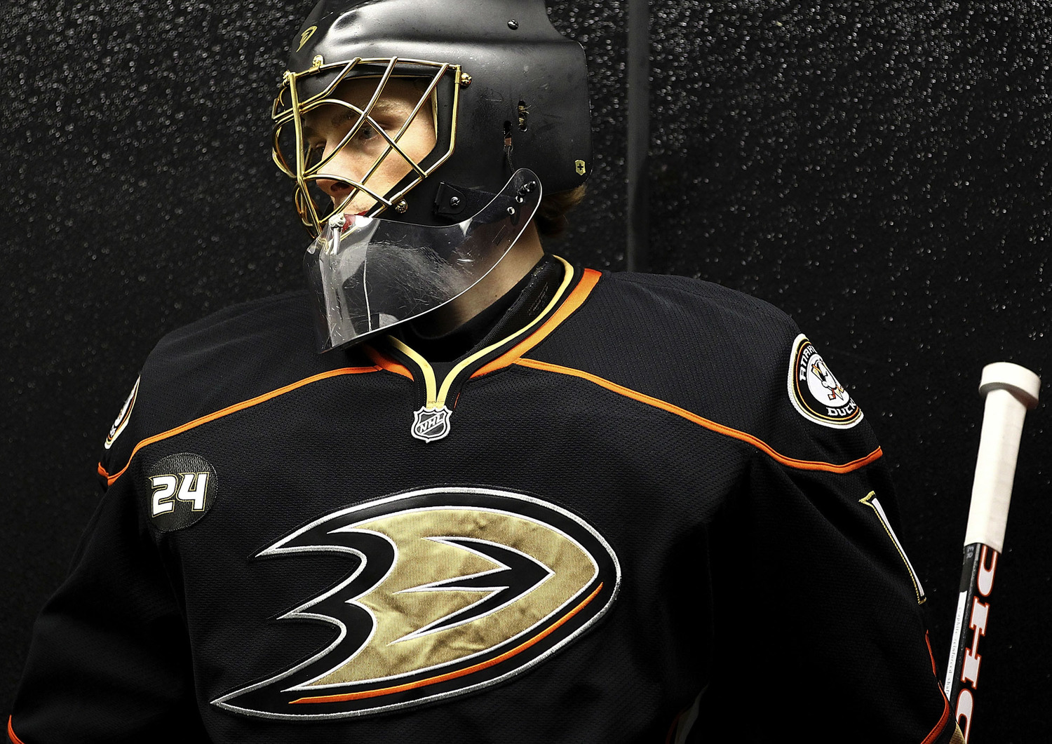 anaheim ducks 2010 rebranding logo on uniform by fanbrandz