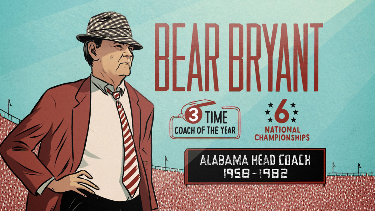 bear bryant illustration from bo knows 30 for 30 documentary by doubleday and cartwright