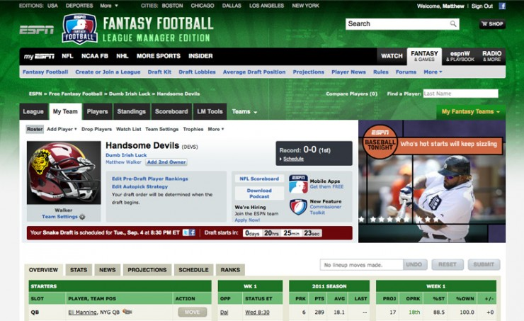 ESPN Fantasy Football Visual Design