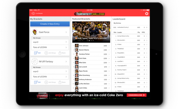 espn tournment challenge user interface ipad app