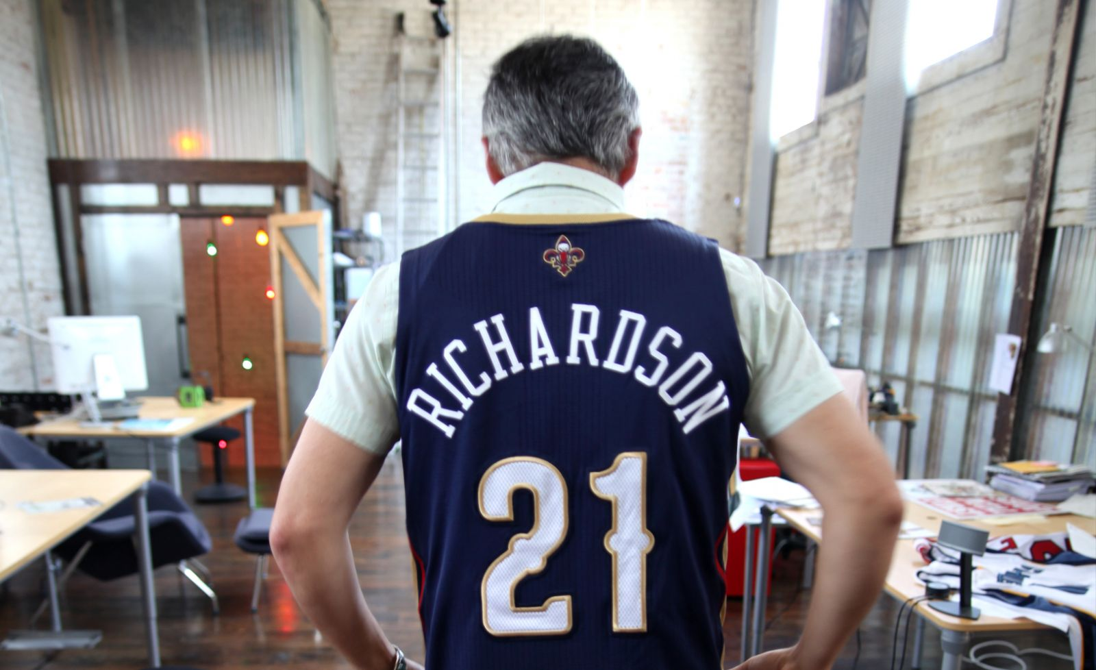 Rodney Richardson showing off his custom Pelicans jersey