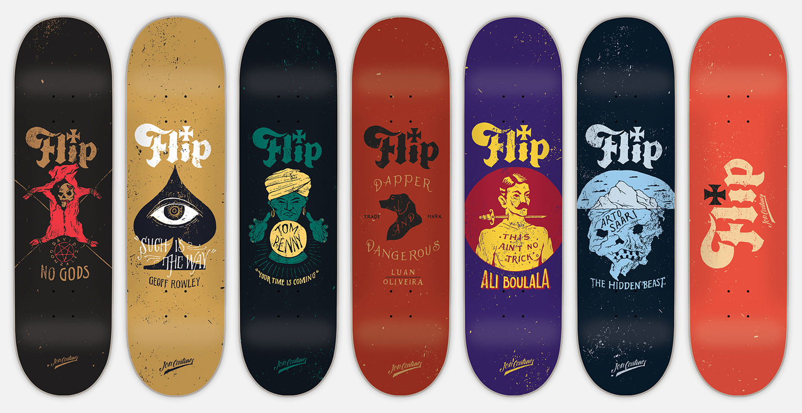 flip skateboards graphics by jon contino